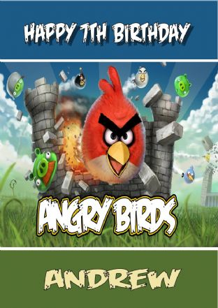 Personalised Angry Birds Birthday Card